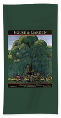 A House And Garden Cover Of People Dining Beach Towel