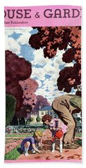 A House And Garden Cover Of People Gardening Beach Towel