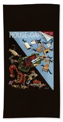 A House And Garden Cover Of People Moving House Beach Towel