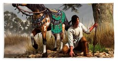A Hunter And His Horse Beach Sheet by Daniel Eskridge