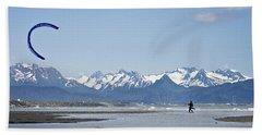 A Kitesurfer Walks To The Beach Beach Towel