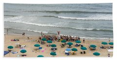 A Lifeguard Gives A Safety Briefing To Beachgoers In Ocean City Maryland Beach Towel