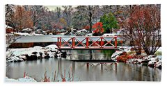 Beach Towel featuring the photograph A Light Dusting Of Snow by Judy Palkimas