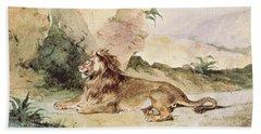 A Lion In The Desert Beach Towel