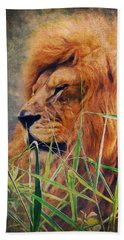A Lion Portrait Beach Towel