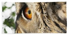 Beach Sheet featuring the photograph Bubo Bubo- Eurasian Eagle Owl. Close Up. by Ausra Huntington nee Paulauskaite