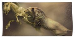 A Machairodus Saber-toothed Cat Attacks Beach Towel