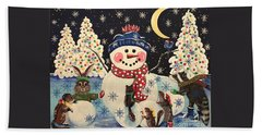A Magical Night In The Snow Beach Towel