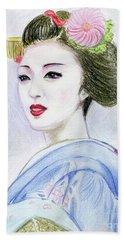 Beach Sheet featuring the drawing A Maiko  Girl by Yoshiko Mishina