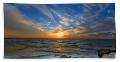 A Majestic Sunset At The Port Beach Sheet by Ron Shoshani
