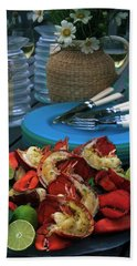 A Meal With Lobster And Limes Beach Towel