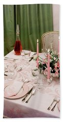 A Pink Table Setting Beach Towel