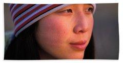 A Portrait  Headshot Of An Active Woman Beach Towel