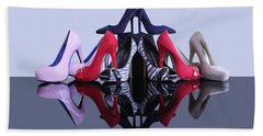 Beach Towel featuring the photograph A Pyramid Of Shoes by Terri Waters