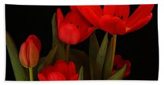 A Red Tulip Day Beach Sheet