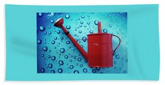 A Red Watering Can Beach Towel