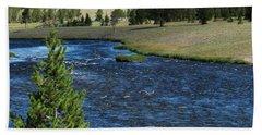A River Runs Through Yellowstone Beach Sheet by Laurel Powell