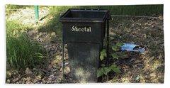A Rubbish Bin Inside The Delhi Zoo Nestled Among Old Leaves Beach Towel