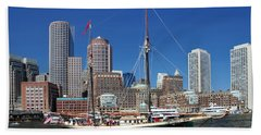 Beach Towel featuring the photograph A Ship In Boston Harbor by Mitchell Grosky