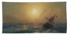 A Ship In Distress Beach Towel