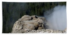 A Smoking Man. Yellowstone Hot Springs Beach Sheet by Ausra Huntington nee Paulauskaite