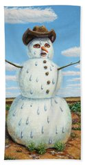 A Snowman In Texas Beach Towel