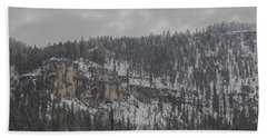 A Snowy Day In Spearfish Canyon Of South Dakota Beach Towel
