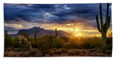 A Sonoran Desert Sunrise Beach Sheet by Saija  Lehtonen