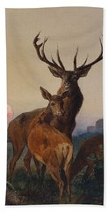 A Stag With Deer In A Wooded Landscape At Sunset Beach Towel