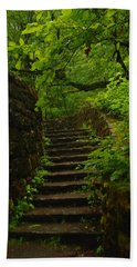 A Stairway To The Green Beach Towel