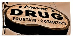 A Store For Everyone - Vintage Pharmacy Sign Beach Sheet