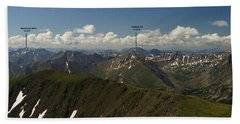 A Summit View Panorama Text Beach Towel by Jeremy Rhoades