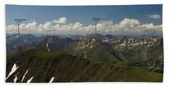 A Summit View Panorama With Peak Labels Beach Towel
