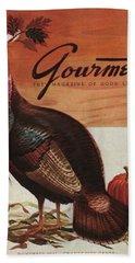 A Thanksgiving Turkey And Pumpkin Beach Towel