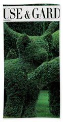 A Topiary Bear In Alice Braytons Green Animals Beach Towel