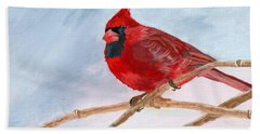Beach Sheet featuring the painting A Touch Of Red by Lynne Reichhart