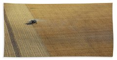 A Tractor Harvesting Photo Beach Towel