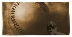 A Tribute To Babe Ruth And Baseball Beach Towel by Dan Sproul