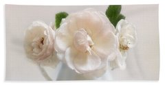A Trio Of Pale Pink Vintage Roses Beach Towel by Louise Kumpf
