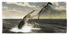 A Tylosaurus Jumps Out Of The Water Beach Towel