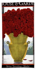 A Vase With Red Roses Beach Towel