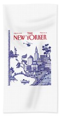 A View Of New York City Beach Towel by Pamela Paparone