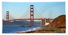 Beach Towel featuring the photograph A View Of The Golden Gate Bridge From Baker's Beach  by Jim Fitzpatrick