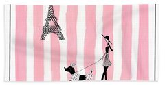 A Walk In Paris Beach Towel by Stephanie Grant