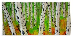 A Walk Though The Trees Beach Towel by Jackie Carpenter