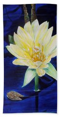 Beach Towel featuring the painting A Waterlily by Marilyn  McNish