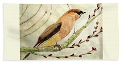 A Waxwing In The Orchard Beach Towel