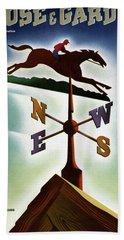 A Weathervane With A Racehorse Beach Towel