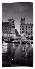 A Wet Dusk In Cordoba Bw Beach Towel