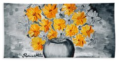 A Whole Bunch Of Daisies Selective Color I Beach Sheet by Ramona Matei